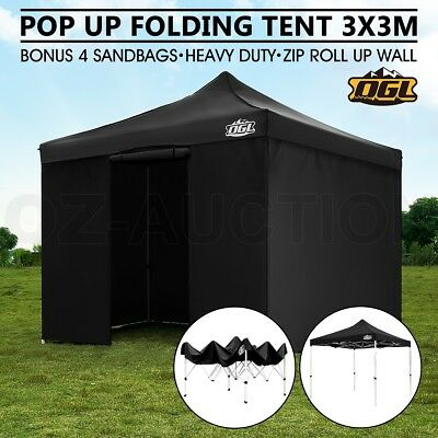 OGL Pop Up Outdoor Gazebo Folding Tent Party Marquee Shade Canopy 3x3M Black