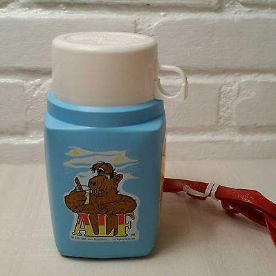 Vintage Alf Thermos Plastic Roughneck Flask w/ Red Strap New Blue England