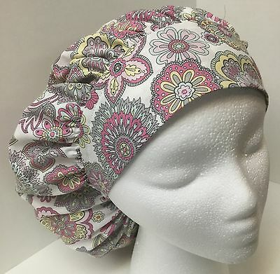 Pink & Gray Floral  Large Medical Bouffant OR Scrub Cap Surgery Hat