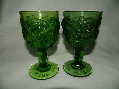 2 LG Wright Wild Rose Medium Green Stem Water Glass Madonna Inn Glasses Pair