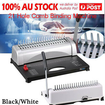 Professional Paper Comb Binding Machine 21 Hole A4 Plastic Coil Punch Binder DH