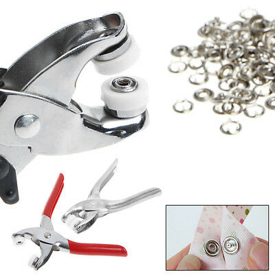 100 Pcs 9.5mm Silver Prong Ring Press Studs Snap Fasteners Dummy Clip Plier