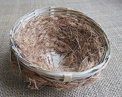 4 x  Canary  nests  in wicker and coco,   small