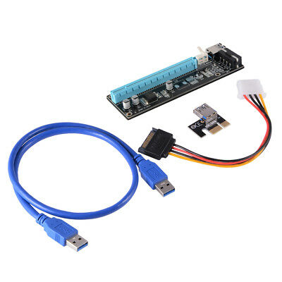 USB 3.0 PCI Express 1X to 16X Extender Riser Card Adapter SATA Cable AC579