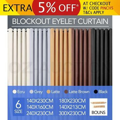 Blockout Curtains 3 Layers Eyelet Pure Fabric Blackout Room Darkening w/Tiebacks