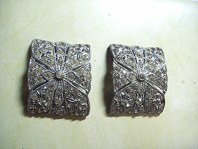 Pair Of Art Deco/silver Plated/paste/shoe Buckles4.5Cms Across