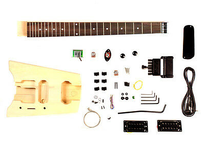 Headless Travelling Electric Guitar DIY Kit - Unfinished Project Luthier
