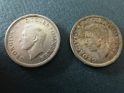 King George V1 Sixpence x 2 , .500 silver