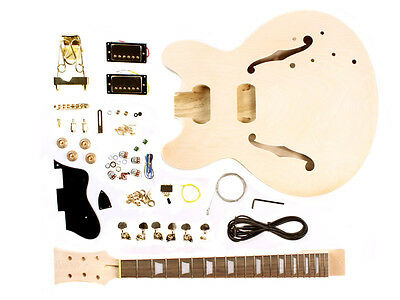 Electric Guitar DIY Kit Semi Hollow Body - Unfinished Project Luthier
