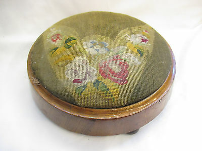 Vintage 19th Century Walnut Embroidered Upholstered Footstool
