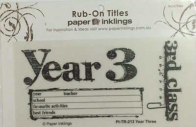 Paper Inklings Title Rub-Ons: Year 3 **BRAND NEW**