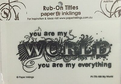 Paper Inklings Title Rub-Ons: My World Black **BRAND NEW**