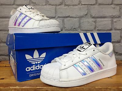 Adidas Originals Childrens Uk 4,6, 10 Superstar Iridescent Trainers Infant Baby