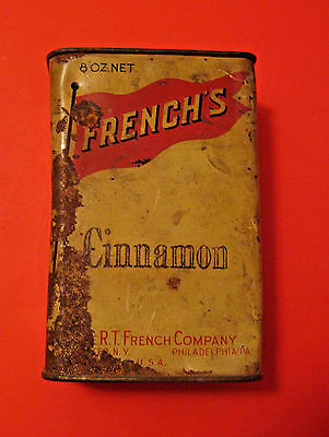 Large Vintage French's Cinnamon Spice Advertising Tin