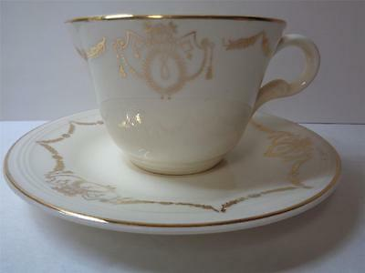 Edwin M Knowles Adams Gold Swag Cup and Saucer Set 44-2 Semi Vitreous USA