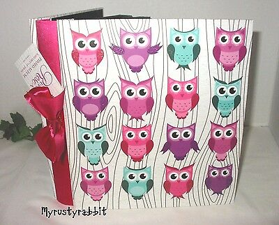 Colorful Owls Photo Album Holds 180 4x6 Pictures - Embossed Cover - NEW