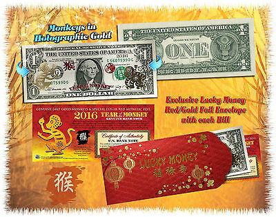24KT GOLD 2016 Chinese Lunar New Year * YEAR OF THE MONKEY * $1 Bill LUCKY MONEY