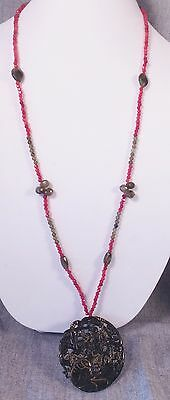 Antique Chinese Carved Stone Pendant GODDESS, ON NECKLACE OF COLORFUL RED BEADS