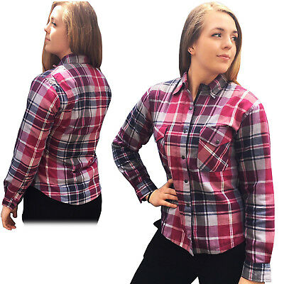 New Womens Motorcycle Flannel Lumberjack Shirt Lined DuPont™ KEVLAR® ARAMID PINK