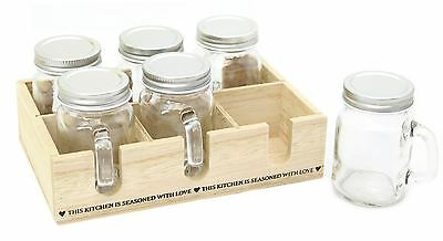 Set Of 6 Herb Spice Storage Jars With Screwtop Lids And Wooden Crate Holder
