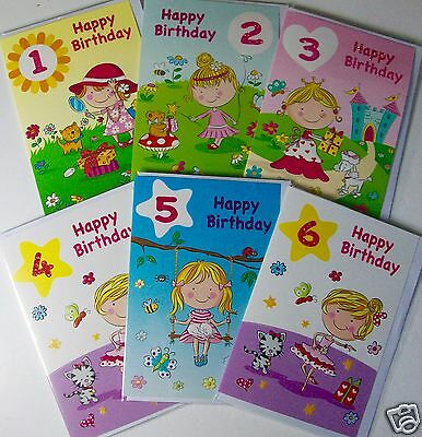 GIRL AGE 1-6 BIRTHDAY CARDS, 6 DESIGNS X 6, JUST 27p, GLITTERED, WRAPPED (B128