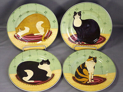 "4 Warren Kimble ""CAT COLLECTION"" FOR SAKURA 8-1/4"" Cat Plates EUC"