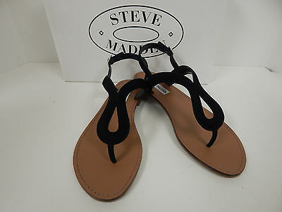 16b38a81aac Steve Madden Takeaway Black Nubuck Thong Sandals w  Ankle Strap-Women s Size  8M