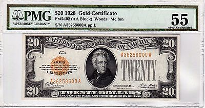 Fr.2402 $20 1928 GOLD CERTIFICATE PMG ABOUT UNCIRCULATED 55