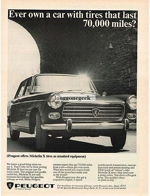 1965 peugeot 404 with Michelin Tires Vtg Print Ad