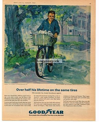 1963 Goodyear Bicycle Tires Delivering Newspapers art Vintage Print Ad