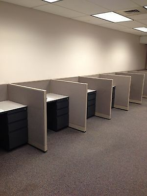 LOT OF 3 TELEMARKETERS/SALES CUBICLES by STEELCASE 9000 ENHANCE
