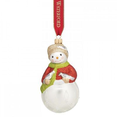 Waterford Holiday Heirlooms Lismore LAUREN PEARL SNOWMAN Glass Ornament - NEW