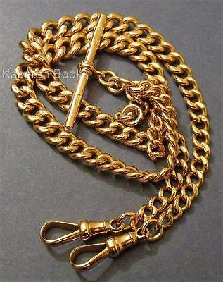 Vintage 9ct Solid Gold Fob Pocket Watch Graduated Double Albert Chain 1925