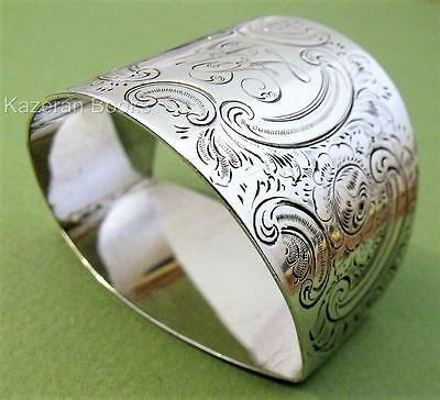 Heavy Antique Victorian D Shape Napkin Serviette Ring 1896 By George Wish 40g