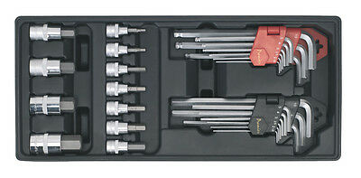 TBT07 Sealey Tool Tray with Hex/Ball-End Hex Keys & Socket Bit Set 29pc