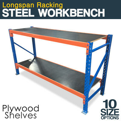 LONGSPAN Workbench Garage Shed Workshop Steel Top Table Storage Work Bench Rack