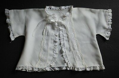 """Vintage Baby Child Bed Jacket White Chiffon Open Tie Front Christening 23.5"""" Ch"""