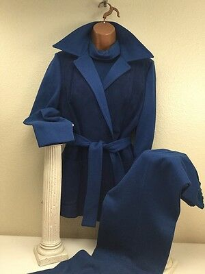 "True Vintage1960's Blue Knit 3pc Pant Suit Suede Front Jacket Bust 37"" Waist 27"""
