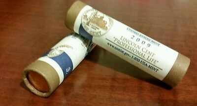 2009 P&D US Mint Rolls-Lincoln Cent Professional Life-  Rolls- FREE SHIPPING!