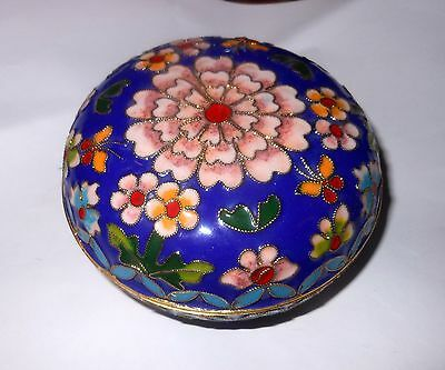 Beautiful Vintage Cloisonne Enamel Jewelry Or Trinket Box, Blue Flowers