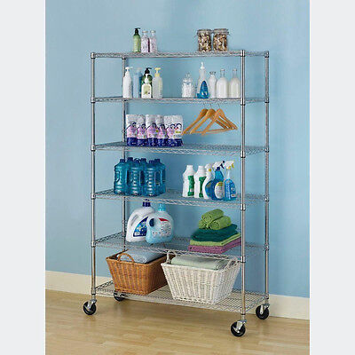 "Black/Chrome 82""x48""x18"" 6 Tier Layer Shelf Adjustable Wire Metal Storage Rack"