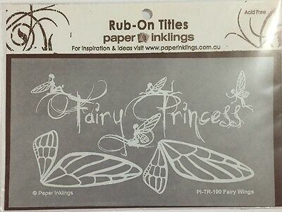 Paper Inklings Title Rub-Ons: Fairy Wings White **BRAND NEW**