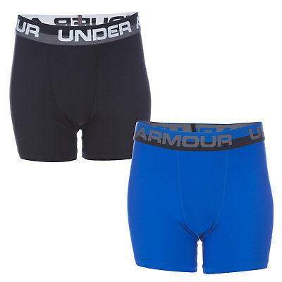 Junior Boys Under Armour 2 Pack Boxer Shorts In Blue And Black-4 Way Stretch