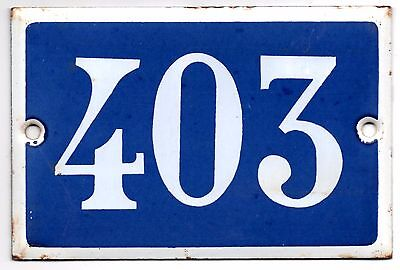 Old blue French house number 403 door gate plate plaque enamel steel metal sign