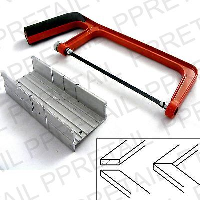 "6"" JUNIOR HACKSAW + MITRE BOX SET Angle Corner/Sawing/Saw/Straight/Holding Block"