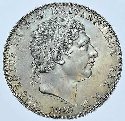1820 Lx Crown; British Silver Coin From George Iii Au