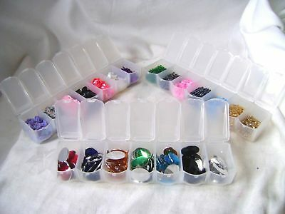 New 3 Craft Accessories Organiser Boxes 7 Section Full Of Gems Beads Sequins Sil