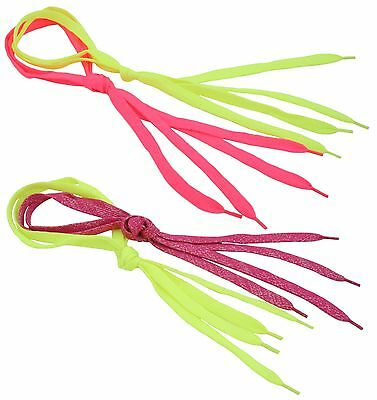 Zest 2 Pairs Wide Brightly Coloured Laces Florescent Yellow & Pink