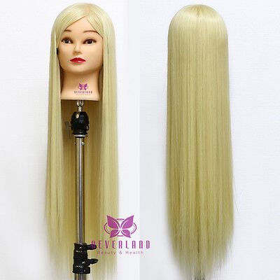 """100% Synthetic 30"""" Hair Hairdressing Training Mannequin Doll Head With Clamp"""