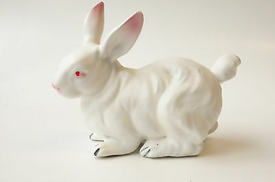 Vintage NORCREST White Bunny Rabbit Porcelain Ceramic Figurine JAPAN Easter PINK